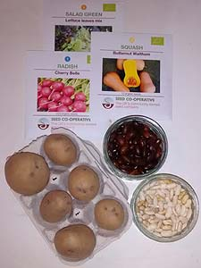 Seed potatoes, beans and seed packets